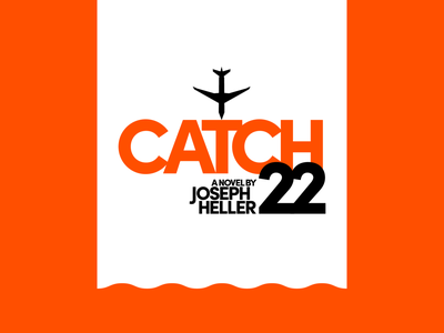 Catch-22 clean white black typography simple wave water geometric minimal orange plane title book cover novel book