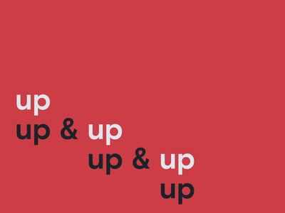 up & up & up kinetic type black white minimal animation after effects sans serif loop up rise ascend typography branding red motion design