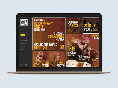 The 24 Hour Plays website homepage bold typography non-profit style guide identity web design orange noise grungy grunge motion design celebrity theatre theater branding gold yellow animation website