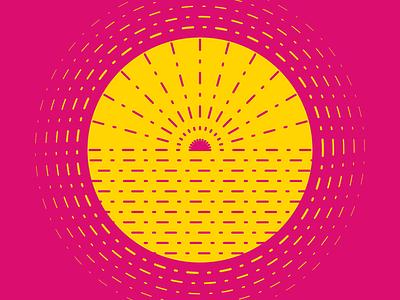 Summer Sun animation circle gold yellow magenta pink simple minimal after effects line flat monochrome symbol vector sun summer dribbbleweeklywarmup