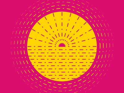 Summer Sun animation circle gold yellow magenta pink simple minimal after effects line flat monochrome symbol vector sun summer dribbbleweeklywarmup