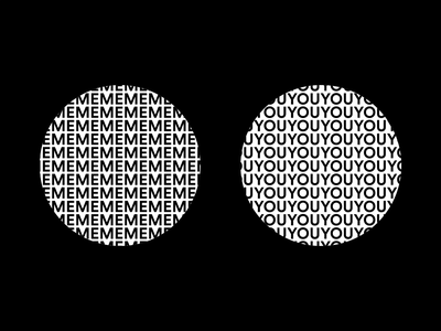 ME & YOU circle geometric typography minimal after effects motion design animation bold stark intersection intersect graphic venn diagram