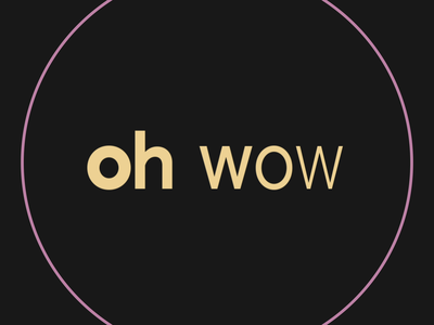 oh wow sans serif variable yellow pink transition words exclamation circle ring typography minimal after effects motion design animation