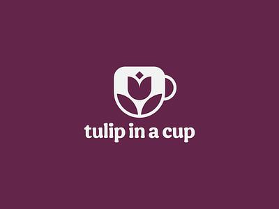 tulip in a cup illustration circle minimal drink food grape purple geometric identity mug cup flower tulip icon typography logo branding