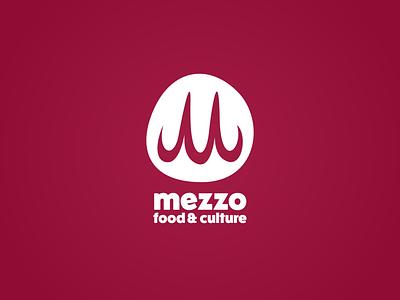mezzo - food & culture identity branding funky fun burgundy maroon red m cursive script blob circle initial typography icon logo restaurant food