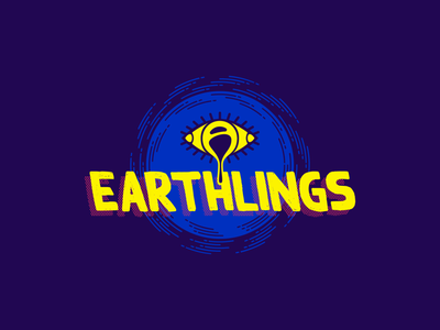 Earthlings company theater pink blue circle geometric psychedelic drip eye typography rough comic grunge trippy icon symbol identity branding logo