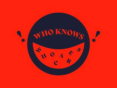 WHO KNOWS W H O C A R E S blue red circle minimal geometric simple illustration frantic frenetic passive aggressive annoyed bold bright