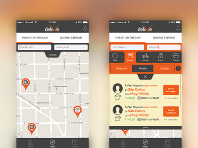 Delivve - Peer to peer delivery map gray orange delivery interface ui