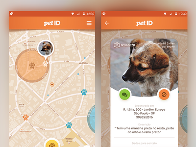 PetID gps map tag id finder pet interface ui