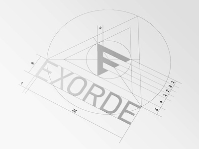 EXORDE Logo Proportions triangle geometry space study dimensions proportions brand logo