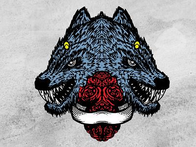 Double Header art color black illustration design tattoo art wolves wolf