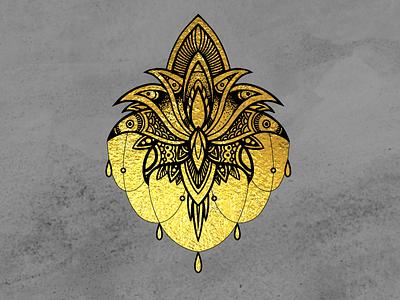 The Golden Tattoo art style vector black color gold illustration design tattoo