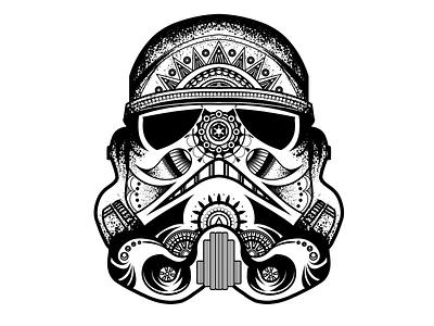 Mandala Helmet star wars starwars mandala art style black vector tattoo design illustration