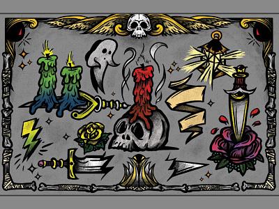 Candle Print tattoo design flash color rose skull spectronium sailor art style black vector illustration tattoo candle