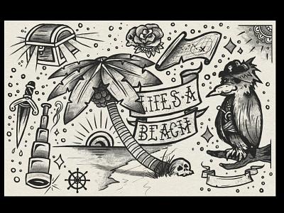 Life's a Beach rose skull tree palm circle dagger black vector illustration sheet flash spectronium bird beach tattoo