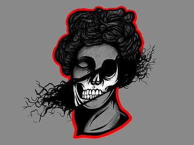 Death Mask old school girl female tattoo illustration skateboard designsnowboard roman statue skull