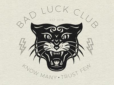 Jaguar Print - Know Many • Trust Few branding black illustration style club luck bad tattoo print jaguar