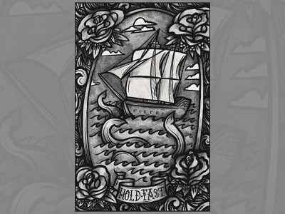 Hold Fast Poster style vector design illustration sea monster hold fast spectronium shading tattoo black print poster ship