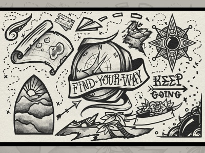 Find Your Way Tattoo Print line linework spectronium style black print design illustration find tattoo vacation