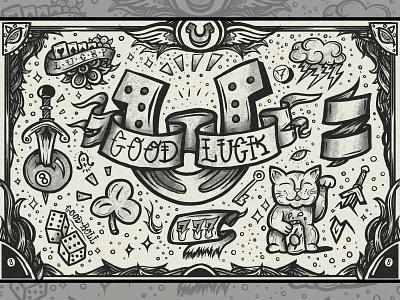 GOOD LUCK Tattoo Print graphic design board skateboard snowboard illustration shading grey black style print tattoo luck good