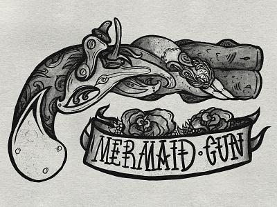 Mermaid Flintlock Pistol skateboard handgun pistol hair roses lines spectronium american traditional shading banner black vector design tattoo illustration gun mermaid