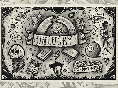 Unlucky Tattoo Print skateboard dagger sword print poster luck unlucky style black vector tattoo