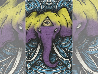 Third Eye Elephant wildlife animal colorado lines style tattoo illustration graphic design spectronium poster print color mandala eye thirs eye for sale elephant