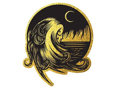 Golden Moon design vector tattoo illustration moon moonlight gold foil golden