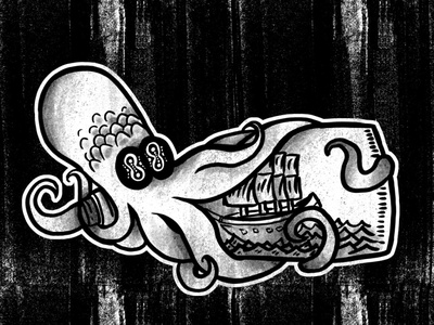 Squid Bottle sailor vector illustration design tattoo art halftone distress ship bottle squid