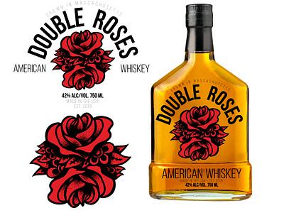 Double Roses Whiskey red black tattoo vintage style vector bottle roses logo branding whiskey