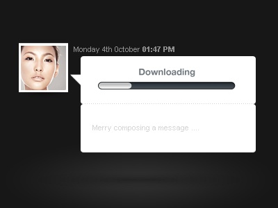 Chat system progress bar download design ui thumb system chat communication tranfert grey send message