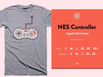 NES Controller tee triblend tee red nintendo gray cotton bureau blue controller nes flat illustration