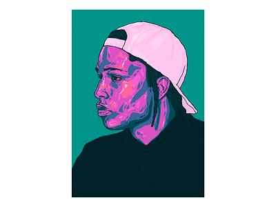 Asap Rocky Portrait // Visual Mixtape. branding minimalism poster design artist illustration poster asap rocky illustration asap rocky illustrator print art poster alex escu illustration