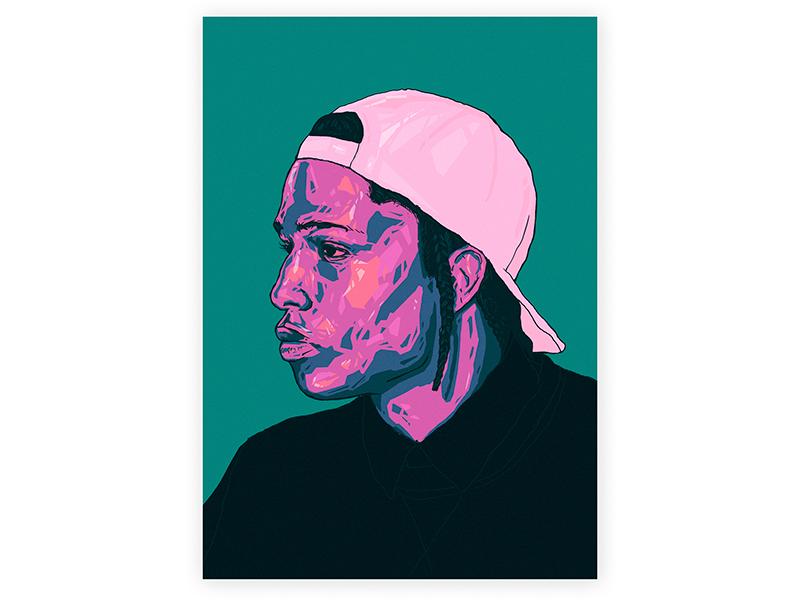Asap Rocky // portrait. illustrator print alex escu girl vector poster art illustration emotions asap portrait asap rocky