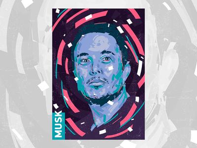 Elon Musk // Portrait elon musk portrait elon musk art alex escu portrait illustration art poster brush colors vector print