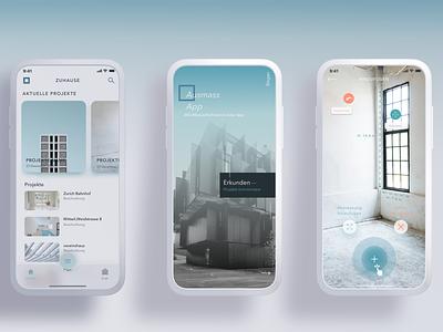 Aussam App augmentedreality architects construction ui design-ui-ux android blue ios