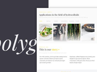 Polygal Shot yellow white web uxdesigner uidesigner minimal food clean agency