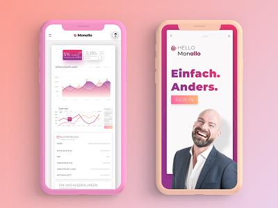 Monollo Financial site - Mobile view orange purple chart financial finance design uidesign web android design-ui-ux ios
