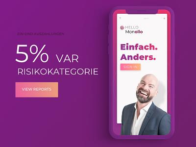 Monollo Financial site - Mobile view website financial app finance purple uxdesign uidesign ios7