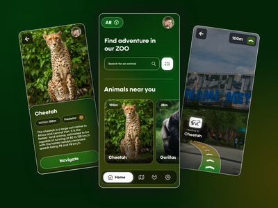 ZooAR - Augmented Reality Mobile App Concept design green interface mobile app mobile app animals animal gorila cheetah virtual reality virtualreality vr augmented augmentedreality augmented reality zoology zoo user inteface ui