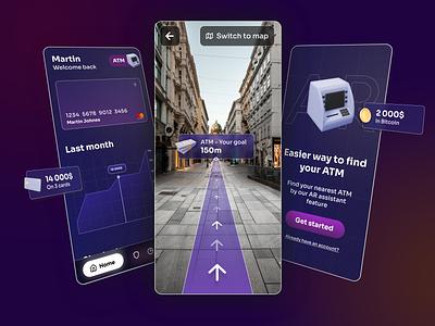 FintechAR Augmented Reality App finance fintech app fintech card atm map filters camera purple mobile app design app virtual reality vr augmented reality augmented augmentedreality user interface ui design
