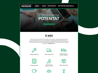 Potentat Accounting Office Web Page icons header white clean ui clean line icon green design office accounting ui design ui  ux ui website design web design website webdesign