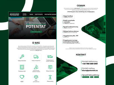 Potentat Accounting Office Full Web Page triangles triangle business user interface design userinterface user interface line icons icons icon white green brand branding logo design clean ui clean accounting webdesign ui