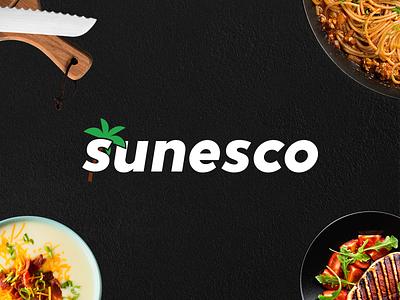 Sunesco - Restaurant and Club Logo typography design pasta soup summer food beach sand palm brand identity identity design brand club branding bar restaurant logo design logotype logo