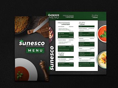 Menu for Restaurant Sunesco logotype logo design bar brand identity brand pasta beach palm spaghetti shrimps soup colors club food green design graphic design menu restaurant