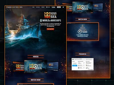King Of The Sea - World Of Warships Tournament Website world of warships ships crown blue sparks spark orange user interface ui design uiux ux web design website design website webdesign ui branding design sea king