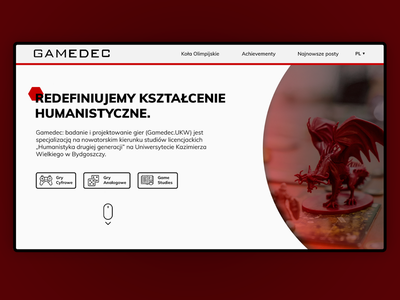 Gamedec - Designing and studying games (landing page) hexagon clean white red dd dungeon webdesign web design web ux ui design studies game digital tabletop rpg analog games games dragon