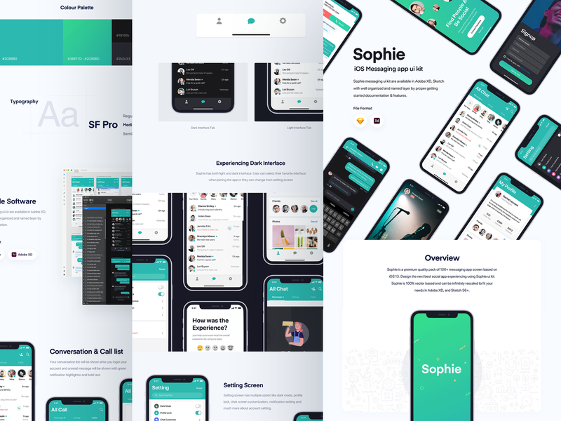 Sophie app case study live on BEHANCE 🔥 behance case study project web website webdesign ui ux user kit social media network minimal clean modern interaction message conversation text iphone x ios android interface experience illustration dark night black design application app mobile chat profile