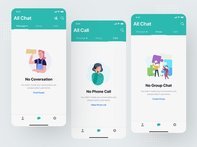 Messaging app empty states onboarding state page empty states status blank ui ux user kit social media network minimal clean modern interaction message conversation inbox text iphone x ios android interface experience illustration dark night black design application app mobile chat profile