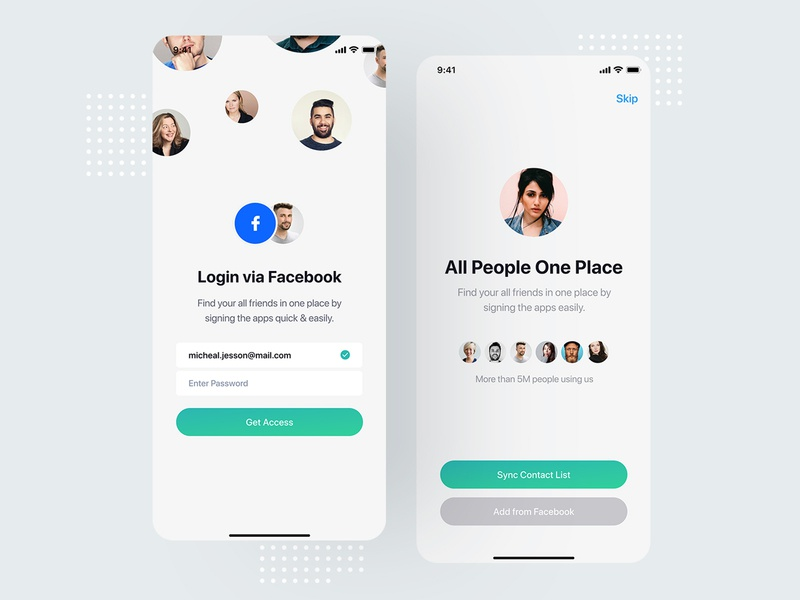 App onboarding screen login sign in signup registration register join onboarding page screen ui ux user kit social media network minimal clean modern interaction message conversation inbox text iphone x ios android interface experience design application app mobile chat profile